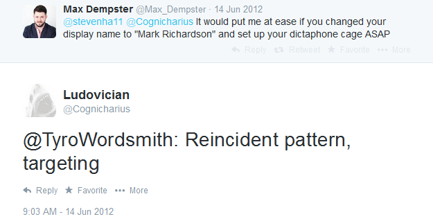 Screengrab of Twitter conversation with Cognicharius